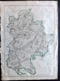 Weekly Dispatch C1860 Antique Map. Bedfordshire, UK